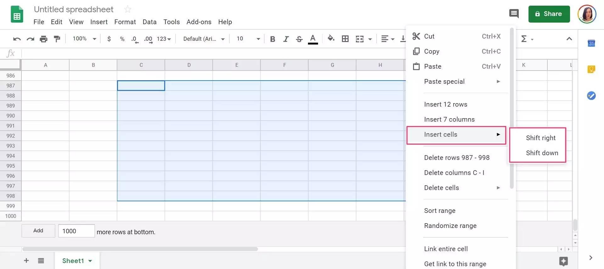如何在PC或Mac上的Google表格中添加单元格