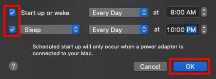 如何在Mac上安排自动启动或关闭
