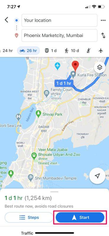 如何在iPhone上与Google Maps共享旅行进度