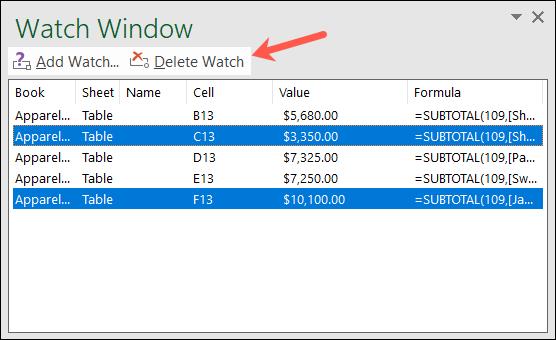 如何使用 Microsoft Excel 监视窗口查看公式