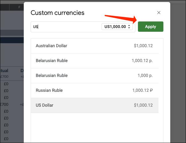 如何更改 Google 表格中的货币符号