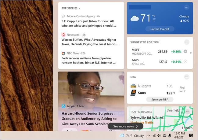 如何从 Windows 10 的任务栏中删除天气和新闻