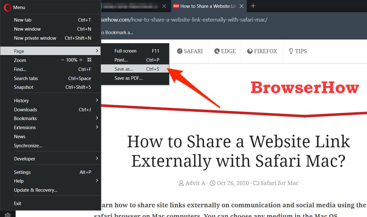 如何在 Opera 浏览器上下载页面以供离线访问?