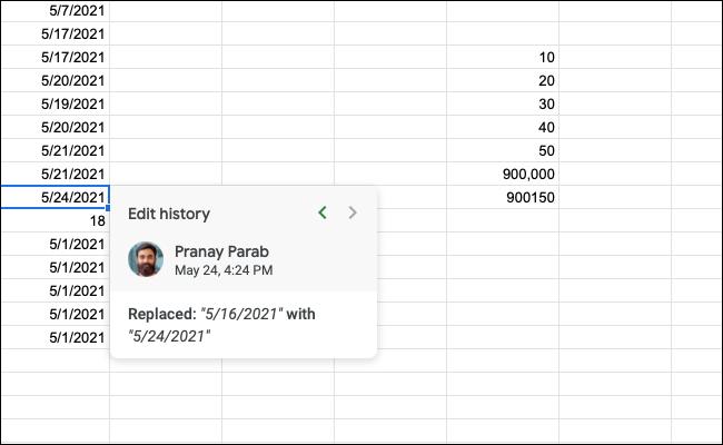 如何在 Google 表格中查看单元格的编辑历史