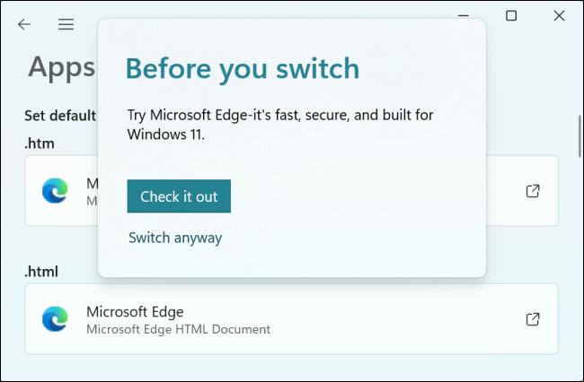 Windows 11 很难更改您的默认 Web 浏览器