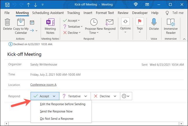 如何在 Microsoft Outlook 中接受以前拒绝的事件