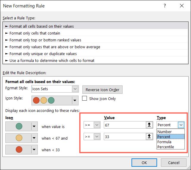 如何使用图标集来表示 Microsoft Excel 中的值