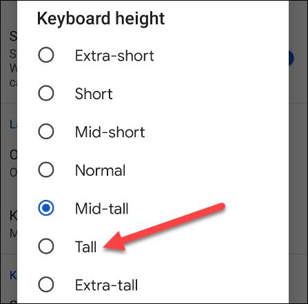 如何在 Android 上调整 Gboard 的高度
