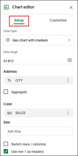 如何在 Google 表格中创建地理地图图表