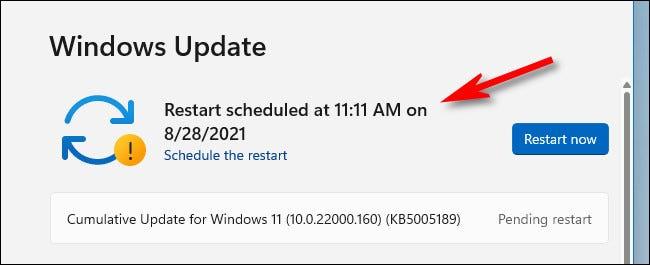 如何在 Windows 11 上为 Windows 更新安排重新启动